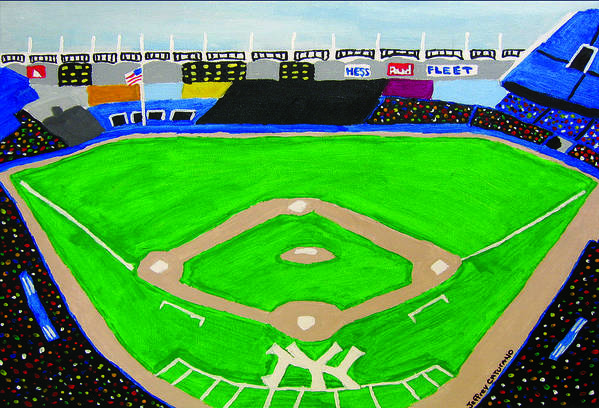 Yankee Stadium Art Print featuring the painting Yankee Stadium by Jeff Caturano