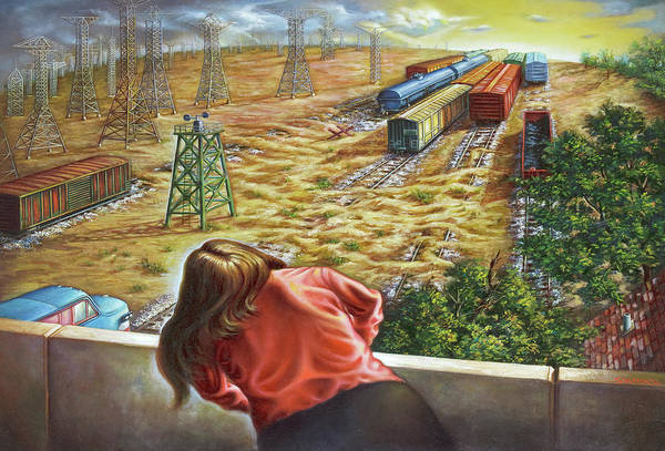 Trains Art Print featuring the painting Yardwatcher by Todd Snyder
