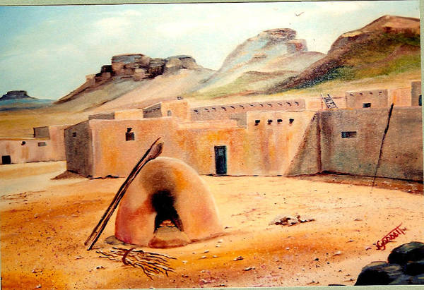 Adobe Art Print featuring the painting Zuni - Pueblo by Joan Gossett