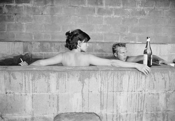 Looking Over Shoulder Art Print featuring the photograph Mcqueen & Adams In Sulphur Bath by John Dominis