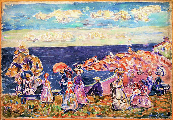 Maurice Brazil Prendergast Art Print featuring the painting On The Beach - Digital Remastered Edition by Maurice Brazil Prendergast