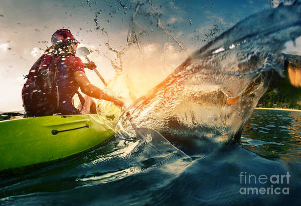 Drop Art Print featuring the photograph Young Lady Paddling Hard The Kayak With by Dudarev Mikhail