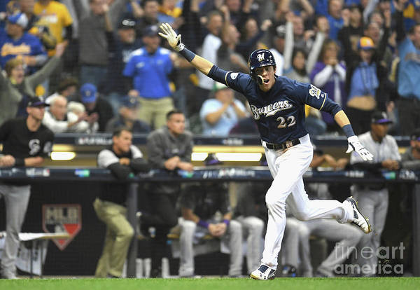 People Art Print featuring the photograph Mike Moustakas And Christian Yelich by Stacy Revere