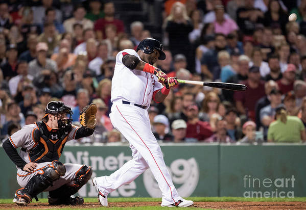 American League Baseball Art Print featuring the photograph David Ortiz by Michael Ivins/boston Red Sox