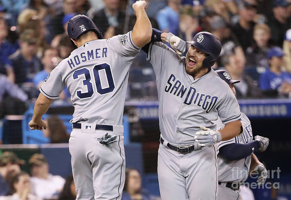 People Art Print featuring the photograph Eric Hosmer And Hunter Renfroe by Tom Szczerbowski