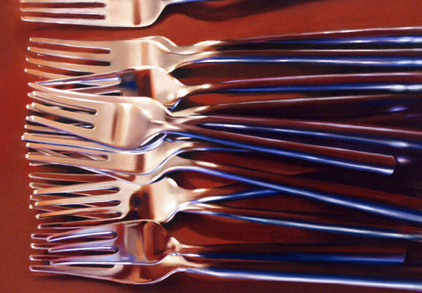 Still Life Art Print featuring the painting Forks by Dianna Ponting