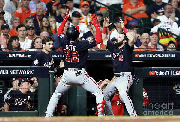 American League Baseball Art Print featuring the photograph Juan Soto And Adam Eaton by Elsa