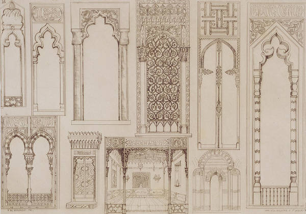 Detail; Architectural; Decoration; Shutter; Divan; Diwan; Lounge; Reception Room; Arch; Window; Light; Ogee; Arabic; Grand Tour; Sketch; Arts;crafts Art Print featuring the drawing Islamic And Moorish Design For Shutters And Divans by Jean Francois Albanis de Beaumont