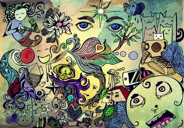 Crazy Art Print featuring the digital art Inside World by REDlightIMAGE