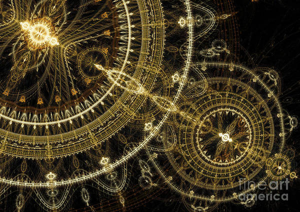 Abstract Print featuring the digital art Golden Abstract Circle Fractal by Martin Capek