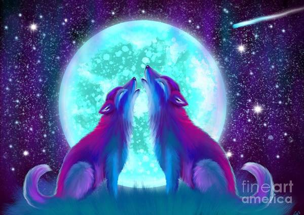 Wolf Art Print featuring the painting Howling Together by Nick Gustafson