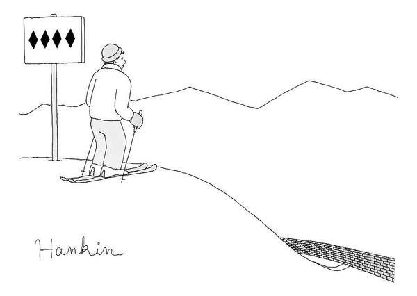 Captionless Art Print featuring the drawing A Man Stands At The Top Of A Ski Slope by Charlie Hankin
