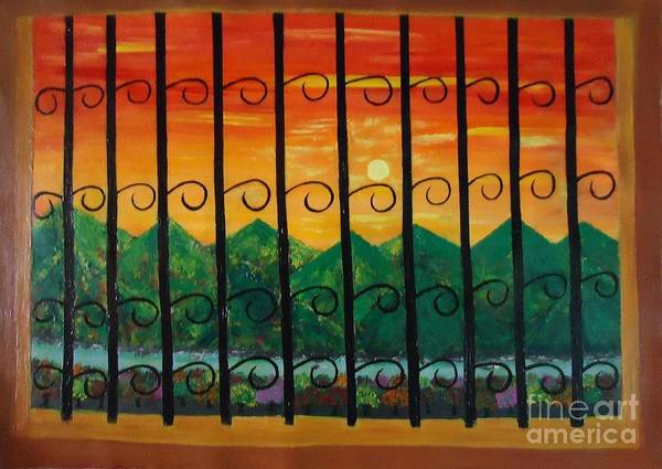 Sunrise Art Print featuring the painting Sunrise by Jnana Finearts
