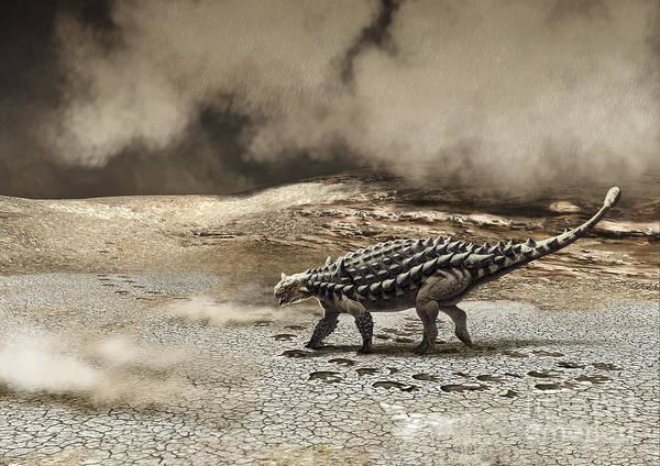 Color Image Art Print featuring the digital art A Saichania Chulsanensis Dinosaur by Roman Garcia Mora