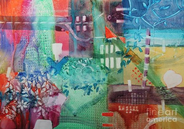 Abstract Print featuring the painting A Spring Walk In The Park  by Elizabeth Carr