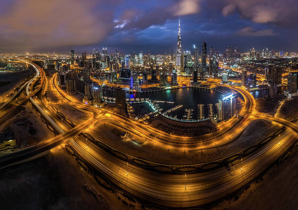 Uae Art Print featuring the photograph Above The City by Khalid Jamal