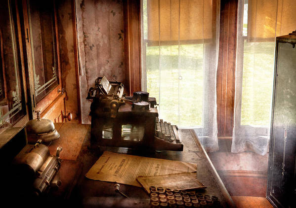 Hdr Art Print featuring the photograph Accountant - My Little Office by Mike Savad