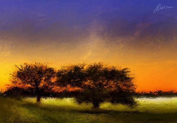 Landscape Art Print featuring the painting Acid Sunset by Marina Likholat