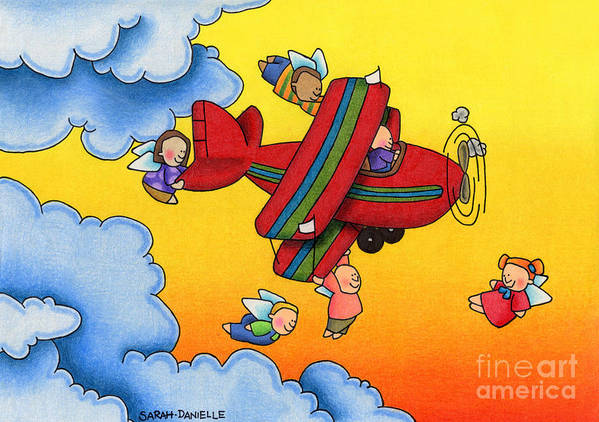 Angels Art Print featuring the drawing Angel Flight by Sarah Batalka