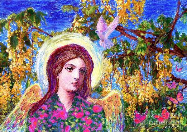 Angel Art Print featuring the painting Angel Love by Jane Small
