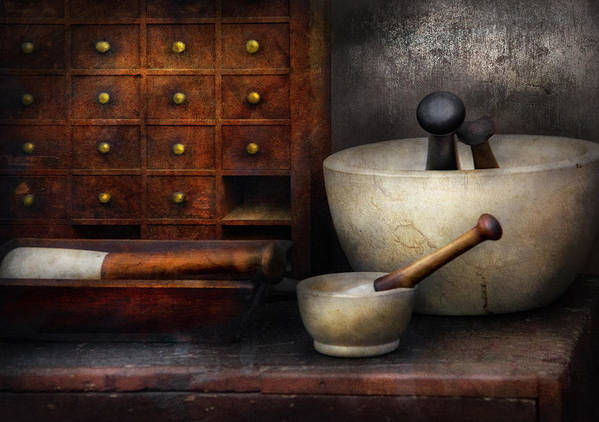 Suburbanscenes Art Print featuring the photograph Apothecary - Pestle And Drawers by Mike Savad
