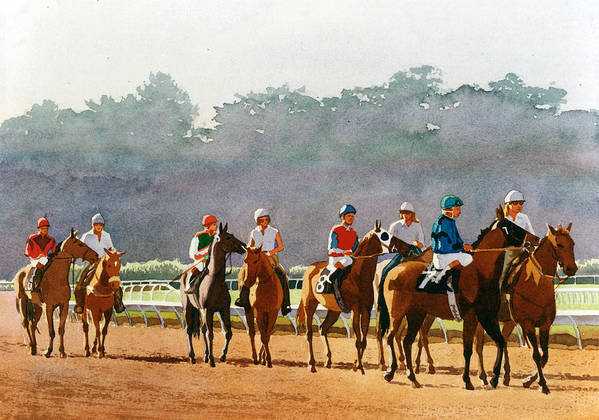 Horse Racing Art Print featuring the painting Approaching The Starting Gate by Mary Helmreich