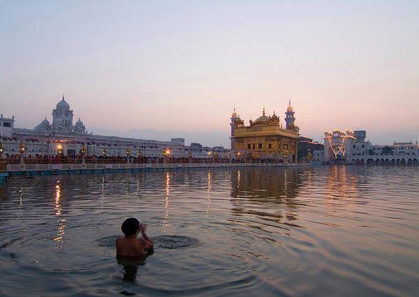 Golden Temple Art Print featuring the photograph At Dawn by Devinder Sangha