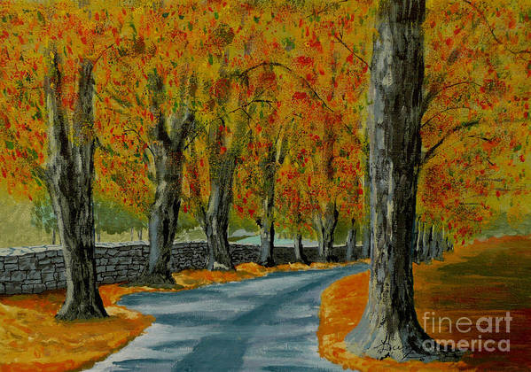 Autumn Art Print featuring the painting Autumn Pathway by Anthony Dunphy
