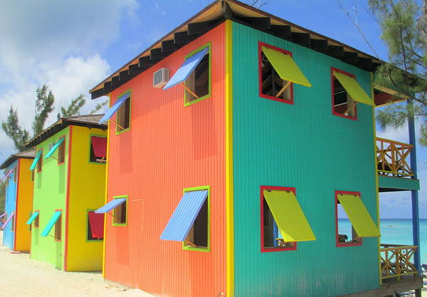 Caribbean Corner Print featuring the photograph Back Of Cabins 1 by Randall Weidner