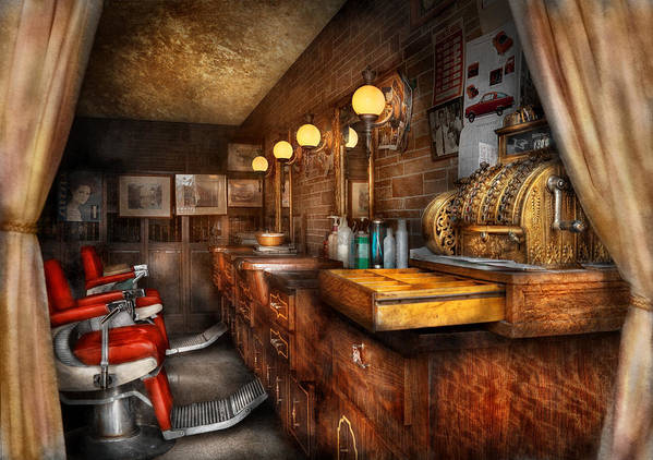 Barber Art Print featuring the photograph Barber - Closed On Sundays by Mike Savad