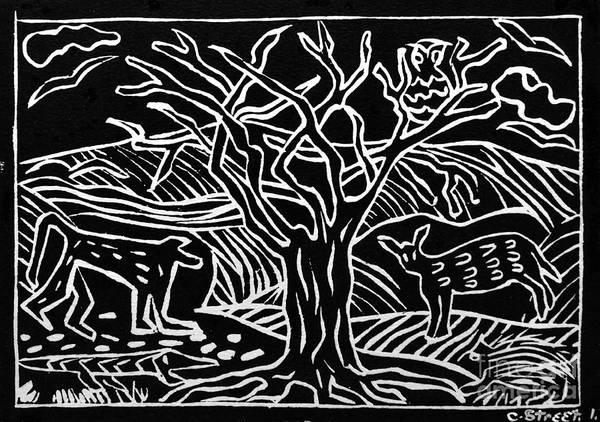 Lino Print Print featuring the relief Bushveld Indaba by Caroline Street