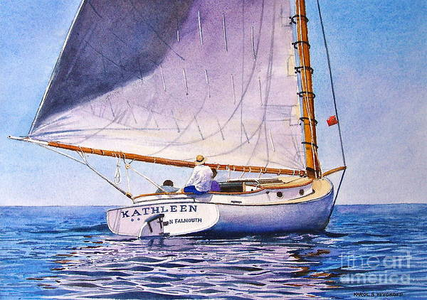 Sail Art Print featuring the painting Cape Cod Catboat by Karol Wyckoff