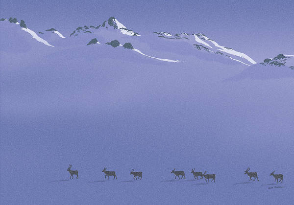Caribou Art Print featuring the digital art Caribou Trail by Peter Rashford