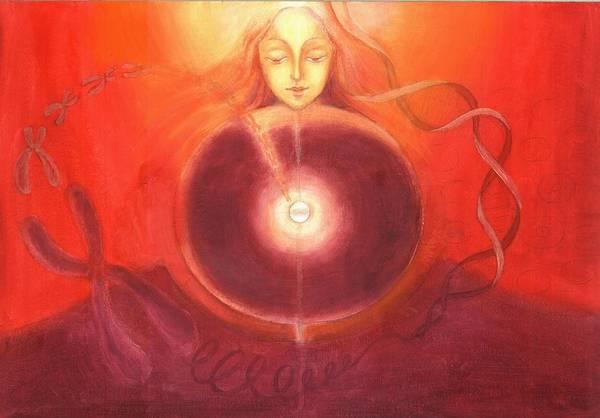 Cellular Yoga Art Print featuring the painting Cellular Yoga by Shiva Vangara