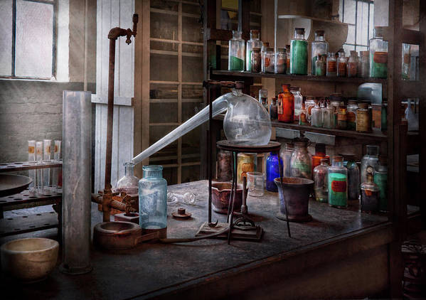 Hdr Art Print featuring the photograph Chemist - My Retort Is Better Than Yours by Mike Savad