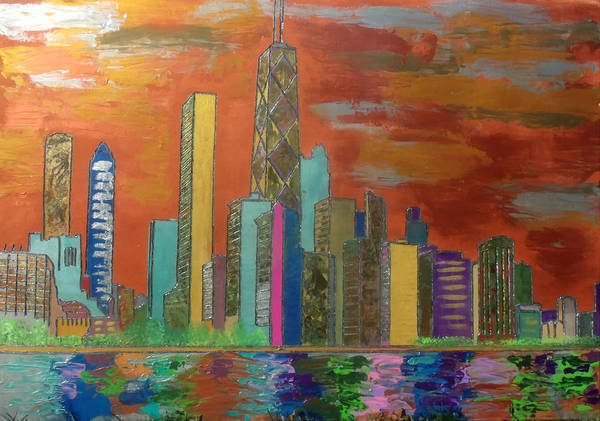 Chicago Art Print featuring the painting Chicago Metallic Skyline by Char Swift