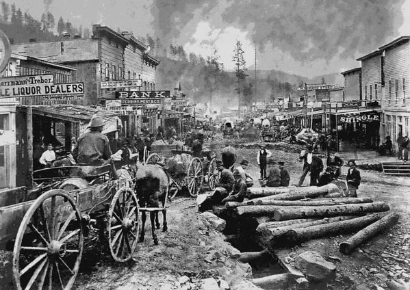 Deadwood Art Print featuring the digital art Deadwood South Dakota C. 1876 by Daniel Hagerman