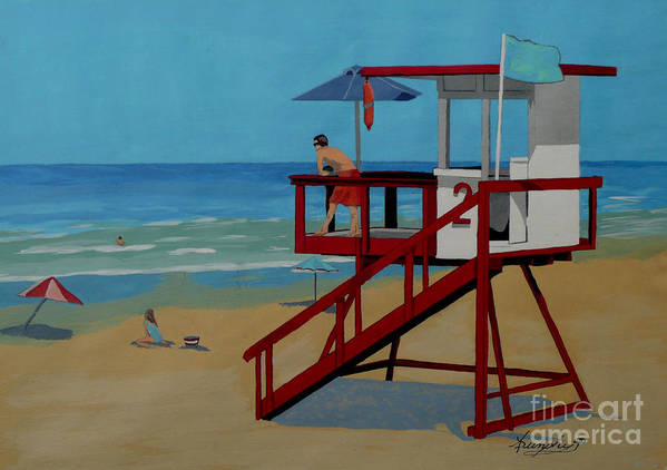 Lifeguard Art Print featuring the painting Distracted Lifeguard by Anthony Dunphy