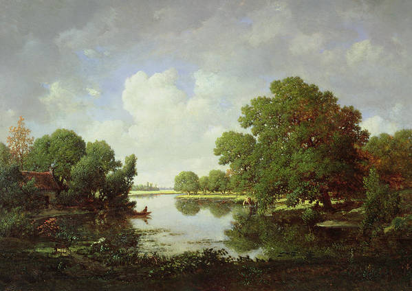 Early Summer Afternoon Print featuring the painting Early Summer Afternoon by Pierre Etienne Theodore Rousseau