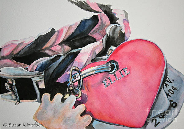 Dog Art Print featuring the painting Ellie's Tags by Susan Herber
