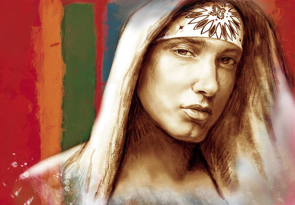 Art Drawing Sharcoal.ketch Portrait Art Print featuring the drawing Eminem - Stylised Drawing Art Poster by Kim Wang