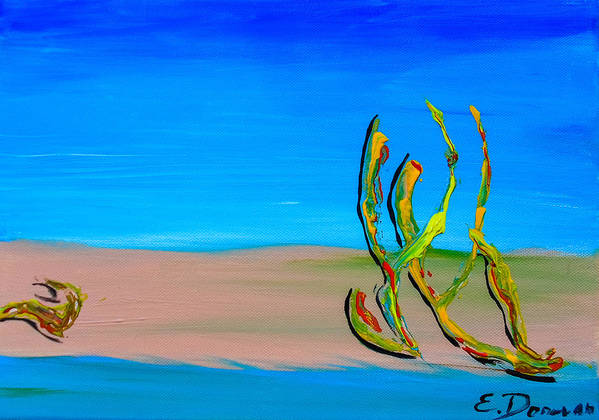 Abstract Art Print featuring the painting Empty Beach In Tel Aviv Abstract Seascape by Eliza Donovan