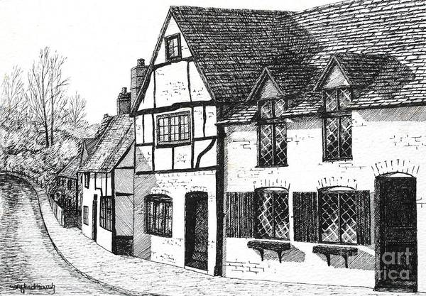 Ancient Art Print featuring the drawing English Village by Shirley Miller
