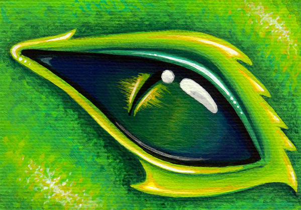 Green Dragon Print featuring the painting Eye Of Cepheus by Elaina Wagner