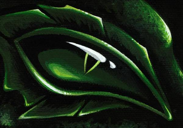 Green Dragon Art Print featuring the painting Eye Of The Emerald Green Dragon by Elaina Wagner