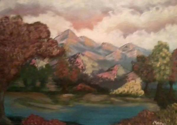 Landscape Art Print featuring the painting Fall In The Mountains by Amanda Rardin