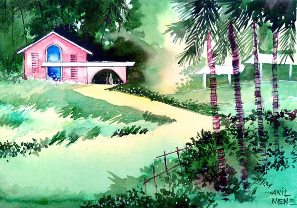 Valentine Art Print featuring the painting Farm House New by Anil Nene