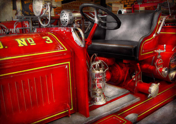 Savad Art Print featuring the photograph Fireman - Fire Engine No 3 by Mike Savad
