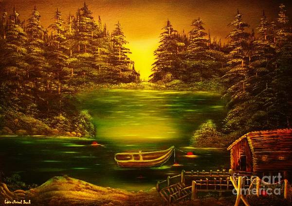 Fisherman Art Print featuring the painting Fishermans Cabin-original Sold- Buy Giclee Print Nr 32 Of Limited Edition Of 40 Prints by Eddie Michael Beck