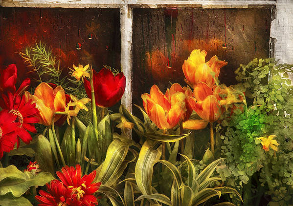 Savad Print featuring the photograph Flower - Tulip - Tulips In A Window by Mike Savad